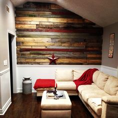 Pallet/Barn-wood wall in the living room!