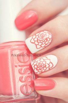 Pretty pink flower nail design