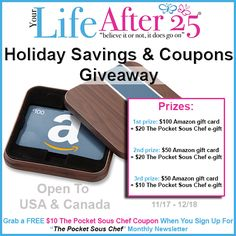 Don't wait for Black Friday or Cyber Monday, Your Life After 25's coupons & discounts page and Enter To Win: Your Life After 25 Holiday Savings Giveaway!