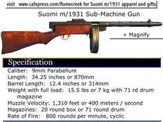 Suomi submachine sub-machine gun Finland konepistooli Guns And Ammo, 2 Guns, Drum Magazine, Night Shadow, Muzzle Velocity, Submachine Gun, Fight For Us, Cool Themes, Assault Rifle