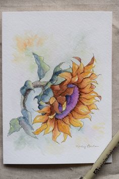 Sunflower-You are my sunshine watercolor painting от SunsetPeonies