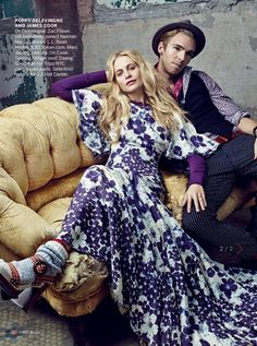#couplesfashion #bohochic {Poppy Delevigne and fiance James Cook in Vogue}