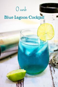 0 carb Blue Lagoon cocktail recipe sweeps you away to sandy beaches and blue skies! Botanical vodka, rum, and gin are the base for this tropical tiki drink. Summer Drinks, Cocktail Drinks, Cocktail Recipes, Summer Bbq, Blue Lagoon Cocktail, Tropical Drink Recipes, Low Carb Cocktails, Drinks Alcohol Recipes, Alcoholic Drinks