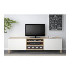 BESTÅ Ława TV z szufladami - dąb bejcowany na biało/Lappviken biały, prowadnica, wciśnij-otwórz - IKEA