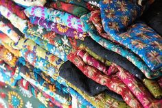 """Photo of the day: These fabrics are from the state of Punjab and the embroidery is called """"Phulkari"""" and mostly uses silk threads."""