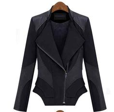 2012 Autumn New Womens Lady Splicing Slim Fit PU Leather Coats Jackets Tops   eBay