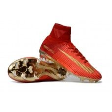 Nike Kids Mercurial Superfly V Champions FG High Top Soccer Cleats - Red/Gold Kids Soccer Cleats, Top Soccer, Nike Kids, Superfly, Ronaldo, Red Gold, High Tops, Cool Designs, Champion