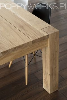 A custom-made table. Made of solid oak timber, natural color-waxed. 200 x 90 x 76cm (lenght x width x height). Unique modern design. Its always