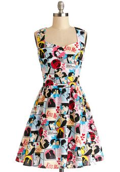 Smitten Sketching Dress - Cotton, Woven, Mid-length, Multi, Cutout, Casual, A-line, Sleeveless, Better, Sweetheart, Valentine's, Novelty Pri...