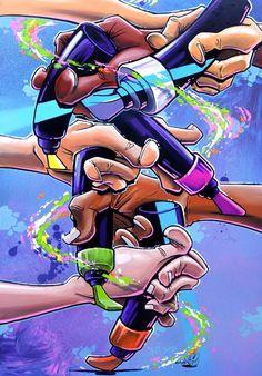 """Hands flow - Let's make the colors dancing - For the exhibition """"Les couleurs de la rue"""" - Paris 2013 - 70x100 cm"""