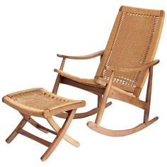 Woven Rope Mid-Century Modern Rocking Chair and Ottoman | From a unique collection of antique and modern rocking chairs at https://www.1stdibs.com/furniture/seating/rocking-chairs/