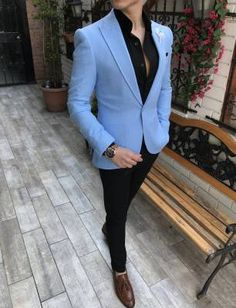 Terziademaltun - İtalyan stil erkek slim fit blazer açık mavi tek ceket T3494 Suit Fashion, Fashion 2018, Mens Fashion, Fashion Outfits, Fashion Trends, Dapper Suits, Mens Suits, Best Blazer, Wedding Suits