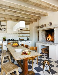 Looking for Rustic Kitchen and Eat-In Kitchen ideas? Browse Rustic Kitchen and Eat-In Kitchen images for decor, layout, furniture, and storage inspiration from HGTV. Kitchen Inspirations, Cozy Kitchen, Eclectic Kitchen, Kitchen Remodel, Kitchen Decor, Modern Kitchen, Kitchen Fireplace, Home Kitchens, Rustic Kitchen