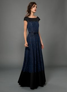 Neoprene Cap Sleeve Gown with Metallic Lace Overlay and Black Grosgrain Ribbon Bow Belt in Dusty Navy/Black | Tadashi Shoji