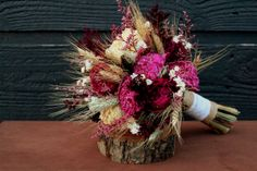 Rustic Burgundy and Pink Wedding Bouquet, Medium Bridal Bouquet, Rustic Chic Bouquet, Dried Flowers, Peony Bouquet with Wheat & Wild Flowers...
