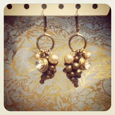Art Deco grape cluster earing. By D. Wallace Designs