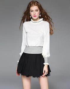 #AdoreWe #VIPme Sweaters & Cardigans - mojaser White Wool Long Sleeve Knitted Sweaters - VIPme.com - AdoreWe.com