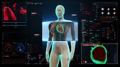 Zooming front Female body and scanning heart. Human cardiovascular system in digital display dashboard.Blue X-ray light. - HD stock video clip