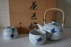 Japanese teapot and five sencha cups porcelain chaki soroe tea set boxed (28.00 USD) by StyledinJapan