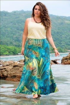 DIY turquoise tropical maxi skirt. Pair with light yellow sweater shell, sandals, and beaded necklace.
