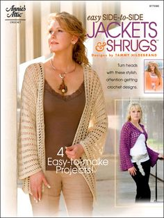 Crochet - Crochet Clothing - Cardigan Patterns - Easy Side-to-Side Jackets & Shrugs Crochet Jacket, Crochet Books, Crochet Poncho, Crochet Yarn, Crochet Stitches, Crochet Sweaters, Shrug Pattern, Crochet Cardigan Pattern, Jacket Pattern