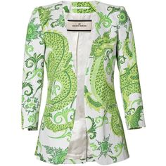 By Malene Birger Anaise printed blazer ($160) ❤ liked on Polyvore featuring outerwear, jackets, blazers, blazer, tops, by malene birger, pattern jacket, colorful blazers, multi color jacket and green blazer jacket