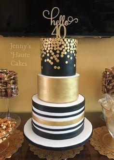 Hello 40 70th Birthday CakeWhite