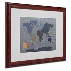 """Trademark Art """"Denim World Map"""" by Michael Tompsett Framed Graphic Art"""