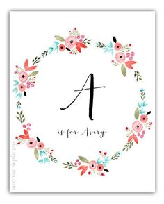 Custom Monogram Name print of watercolor wreath by VictoryDay