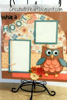 CTMH Clementine paper and new Cricut cartridge Artiste Jardell This would be cute with Rangerette I think I will have to make this for you for your memories. Baby Scrapbook, Scrapbook Paper Crafts, Scrapbook Cards, Scrapbook Sketches, Scrapbook Page Layouts, Scrapbooking Ideas, Owl Card, Owl Crafts, 6 Photos