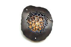 Michelle Startzman Metalwork. Impressions 5: Copper, brass, enamel, silver. 2013. Brooch