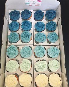 Baby Shower Cupcakes For Boy, Cupcakes For Boys, Buttercream Cupcakes, White Cupcakes, Baby Shower Decorations For Boys, Baby Shower Cakes, Cupcake Cakes, Blue Wedding Cupcakes, Ocean Cupcakes