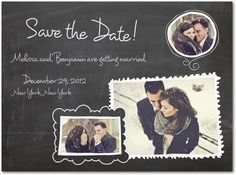 Save The Date!    http://www.weddingpaperdivas.com/product/9696/signature_white_photo_save_the_date_cards_chalk_frame_charm.html