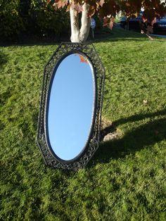 Vintage Wall Frame Black Mirror Syrocco Hollywood Regency Style