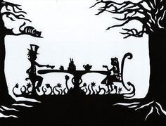 Papercut Silhouette, Alice In Wonderland, Paper Art, Hand Cut Out Original Art, Mad Hatter Tea Party