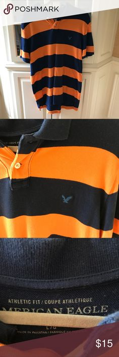 Men's stripped polo size large American Eagle Gently worn polo excellent condition American Eagle Outfitters Shirts Polos