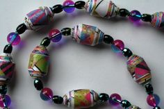 how to make a paper bead necklace with spacers and glass beads - Google Search