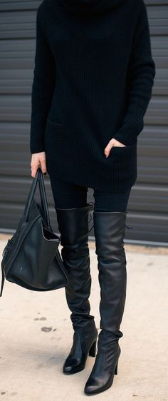 all black. over the knee boots.