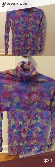 Soft colorful turtleneck Looks like a piece of art to me. If you love purple you will so love this. No idea of the brand. Tag was not attached. Tops Blouses