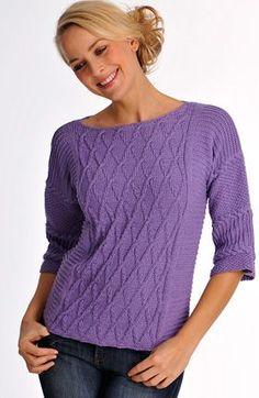 Kan du lide at strikke mønsterstrik, så er denne smukke bluse sagen. Ærmerne er strikket ud i ét med ryg og forstykke Knitting Projects, Knitting Patterns, Vogue, Chiffon, Knit Jacket, Cable Knit, Knitwear, Jumper, Knit Crochet