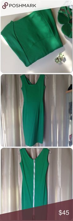 """NEW IN PACKAGE GREEN SHEATH DRESS NWT green sheath dress with exposed back silver zipper & back slit. This dress has plenty of stretch with no pattern to distort. The design elongates the body creating a nice silhouette!! Measurements bust 36-38"""", waist 30-32"""", hips 36-38"""", length 39"""". Available in L only. Dresses"""