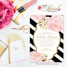 Romantic Garden Peonie Flowers Blush Pink and Gold Black and White Stripes Bridal Shower Invitation Printable