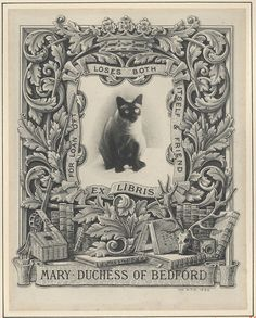 ≡ Bookplate Estate ≡ vintage ex libris labels︱artful book plates - Mary Duchess of Bedford's, designed by W.P. Barret in 1899