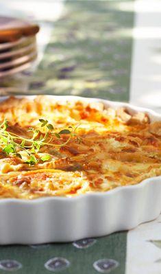 Mehevä vuohenjuustopiirakka | Maku Hawaiian Pizza, Macaroni And Cheese, Ethnic Recipes, Food, Mac And Cheese, Essen, Meals, Yemek, Eten