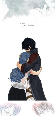 "Gray: ""I'm home!"" Juvia: ""Juvia missed you so much, Gray-sama.""  The Rain Stopped by blanania :)"