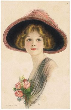 R. Ford Harper postcard: Lithographed postcard depicting a pretty young lady with a fancy hat on, entitled Constance.Artist signed: R. Ford