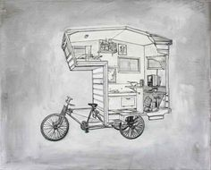 The camper for a bicycle.  Cool!! Guess I wouldn't take this up to Yosemite, the traffic is brutal enough.