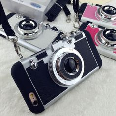 Cheap case for iphone, Buy Quality phone cases directly from China case plus Suppliers: Boucho Cool 3D Retro Camera Phone Cases For iPhone X 8 7 6 6s Plus 5 5s SE Case Soft Silicone Back Cover With Lanyard Strap