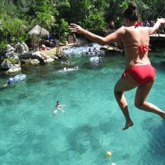 Cliff jumping at Mexico Xel - Ha Park