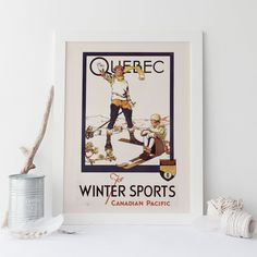 QUEBEC Travel Poster - Quebec Travel Print - Professional Reproduction Canadian Pacific Poster Art Deco Poster Canada Ski Poster